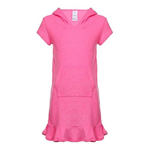 (DAYU Girls Terry Cloth Swim Cover Ups Hooded Kangaroo Pocket Beach Coverup Dress, Pink, 10-12)