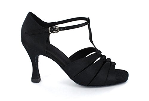 Latin Shoes Ballroom Dance Sandals Women's Knot T Strap Black Tango Minitoo Comfortable Satin Salsa nqvf0ZXBqw