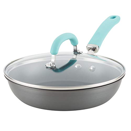 Rachael Ray 81155 10.25-Inch Deep Hard Anodized Aluminum Skillet, 10.25 Inch, Gray With Light Blue Handles