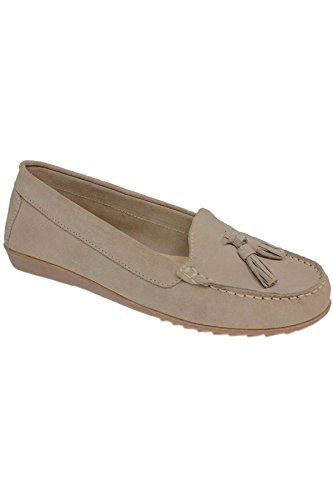 Sapphire TIENDA flh598 MORRIS Mujer Borla Clásico Piel de ante Mocasín Zapatos mocasines Beige