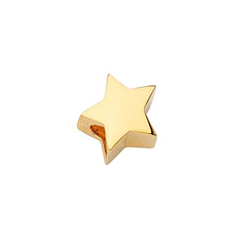 Pendant Sliders Yellow - Wellingsale 14k Yellow Gold Star Slider for Mix & Match Bracelet (Size : 10 x 10 mm)