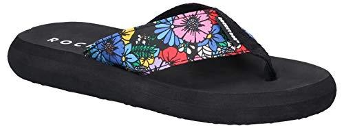 Rocket Dog Womens/Ladies Spotlight Flower Frenzy Slip On Sandals/Flip Flops (8 US) (Black)
