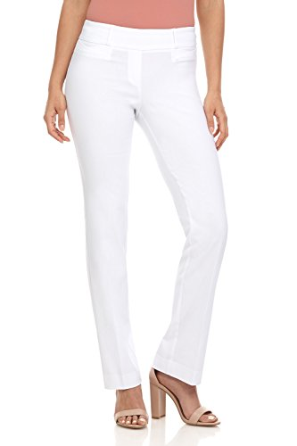 Classic Fit Boot Cut Pant - Rekucci Women's Ease in to Comfort Fit Barely Bootcut Stretch Pants (16,White)