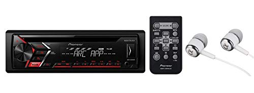 Pioneer DEH-S1000UB Single DIN In-Dash CD, CD-R/RW, MP3, Front USB and Auxiliary Input, AM/FM Detachable Face Plate Car Stereo Receiver w/ MIXTRAX and ARC Support / FREE ALPHASONIK ()