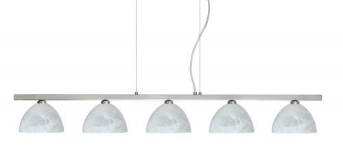 Besa Lighting 5LP-467952-SN 5X40W G9 Brella Pendant with Marble Glass, Satin Nickel Finish