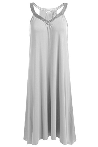Ekouaer Womens Sleeveless Nightgown Sleepwear Summer Slip Night Dress, Light Grey, X-Large