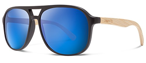 Abaco Pitbull Sunglasses Matte Black/Natural Bamboo Frame Polarized Blue Mirror - Pitbull Sunglasses