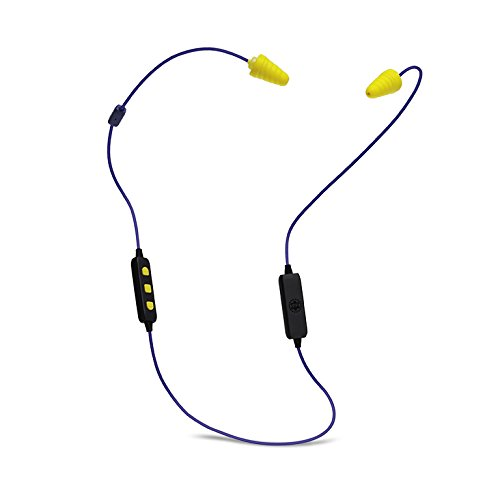 Plugfones® Liberate 2.0 Earplug-Earbud Hybrid - Blue Cable / Yellow Accents / Yellow Plugs