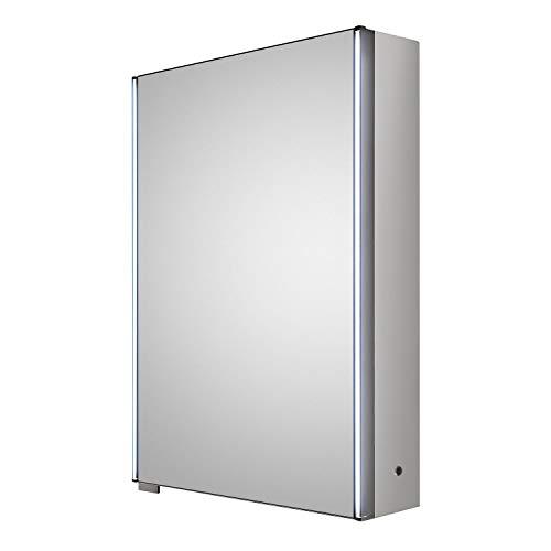 Hudson Reed LQ093 Meloso Mirror Cabinet, Grey, 500 - Cabinet Mirrors Meloso Bathroom Hudson Reed