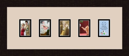 Art to Frames Double-Multimat-158-782/89-FRBW26061 Collage Frame Photo Mat Double Mat with 5-2.5x3.5 Openings and Espresso Frame