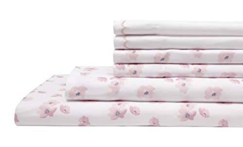 (Elite Home Products Spring Meadow Microfiber Print Embroidered Bed Sheet Set, Twin, Rose)