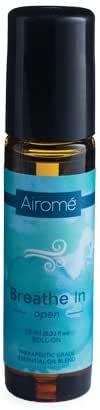 Airomé Breathe in 100% Pure Therapeutic Grade Essential Oil with Roll-On Applicator | 10ml Amber Glass Bottle, Stainless Steel Roller Applicator