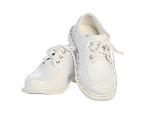 Boys Lace Up Matte Dress Shoes (9T, White) Boys White Dress Shoes