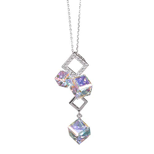 X-W-J Pendant Necklace For Women Girls Whole Body 925 Sterling Silver Sparkling Sugar Cube Austrian Crystal Ab Color Personality Exquisite Simple Romantic