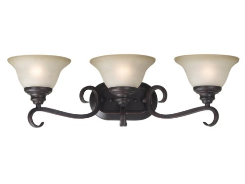 (Kenroy Home 80473ORB Welles Three-Light Vanity Light With 7-Inch Cream Scavo Glass Shades, Oil Rubbed)