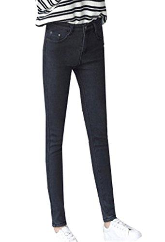 Denim Donna In Leggings Inverno Jeans Attillati Alta Vita Tapered Dabag Addensare Termico Caldo Nero Pantalone Pantaloni vAx6xwq7
