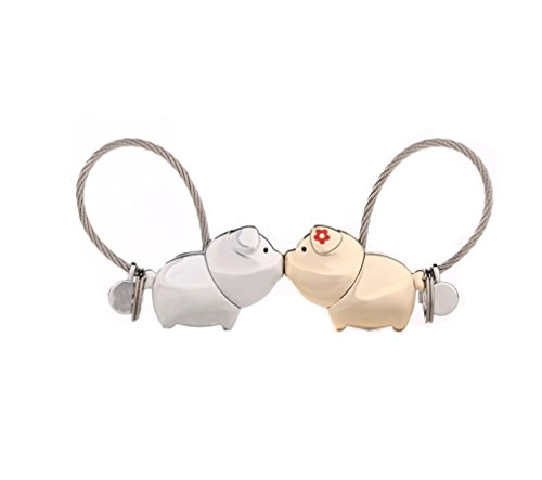 Couple Keychain Set of 2pcs Kissing Pigs keyrings Handbag Pendant Decoration for Sister, Mother and Daughter- Silver and Light Gold