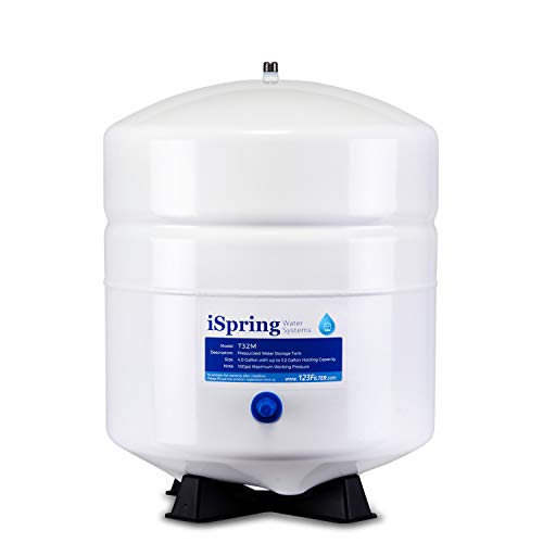 iSpring T32M 4 Gallon Residential Pre-Pressurized Water Storage Tank for Reverse Osmosis (RO) Systems