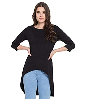 American-Elm Black Long Tshirt Dress for Women| Cotton Crew Neck Stylish Front Short Top Tshirt