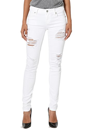 TheMogan Women's Distressed Ripped Destructed Soft Denim Skinny Jeans White 7