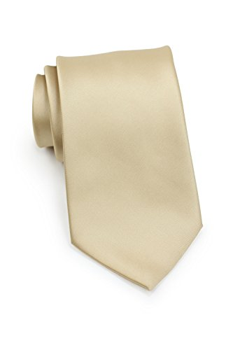 Bows-N-Ties Men's Necktie Solid Color Microfiber Satin Tie 3.25 Inches (Golden Tan)