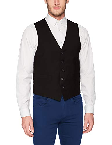 Kenneth Cole REACTION Men's Techni-Cole Stretch Slim Fit Suit Separate Vest (Blazer, Pant, and Vest), Black, Small