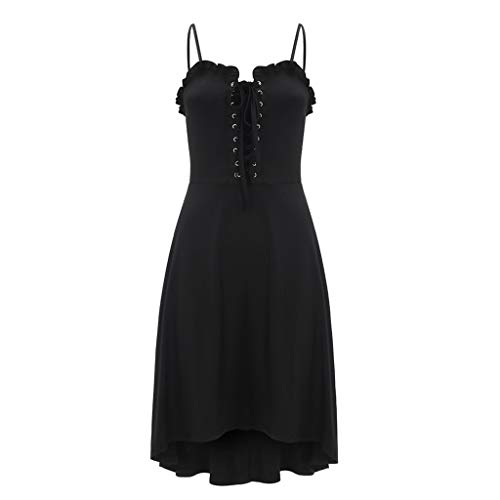 Basic Halloween Costumes Tumblr (│IMMOA│Women Gothic Black Spagetti Strap Dress Punk Lace up Flowy A Line Ruffles Mini Skater Dresses Rock Basic)
