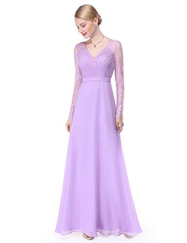 Ever-Pretty Womens Elegant V-Neckline Lace Sleeves Military Ball Dress 12 US Lavender