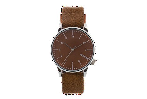 Carlo Monte Watch Leather (Komono KOM-W2555 Men's Winston Monte Carlo Brown, Silver Leather Band with Brown Dial Watch)