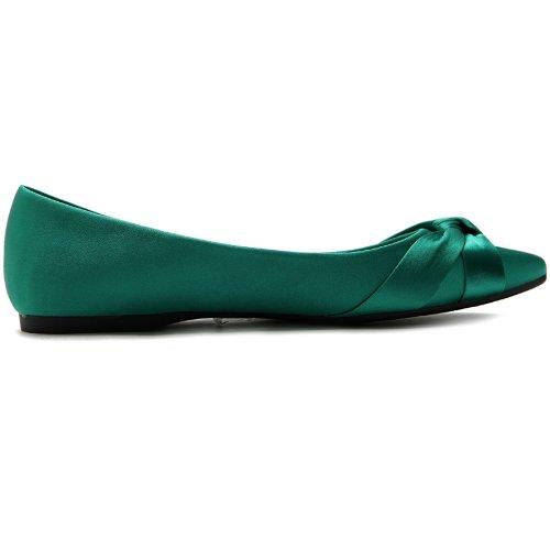 Ollio Kvinners Sko Ballett Knute Aksent Pekte Tå Flat Green