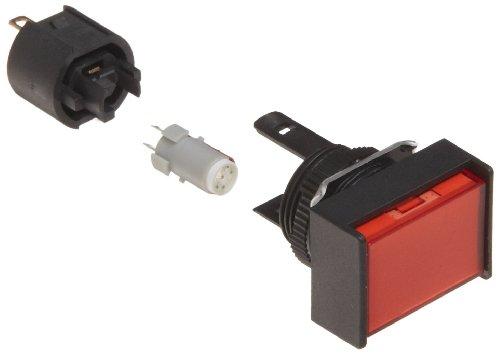 Rectangular Indicator Light - Omron M165-JR-12D Cylindrical Indicator Display and Socket, Solder Terminal, IP65 Oil-Resistant, 16mm Diameter, LED Lighted, Rectangular, Red, 12 VDC Rated Voltage