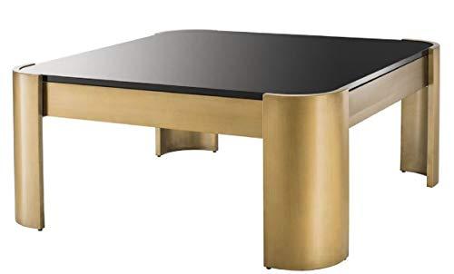 Casa Padrino Mesa de Centro laton/Negro 100 x 100 x H. 46 cm - Mesa de Salon de Acero Inoxidable con Tapa de Cristal - Colecc