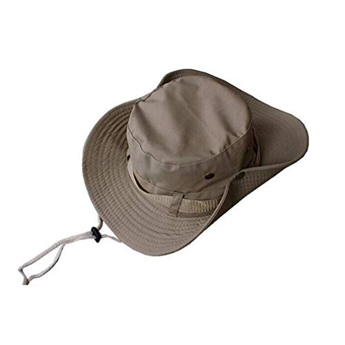 Waterproof Oxford Fabric Western Cowboy Hat Wide Brim Outback Hats Outdoor Foldable Windproof Hat with Adjustable Strap Band Khaki