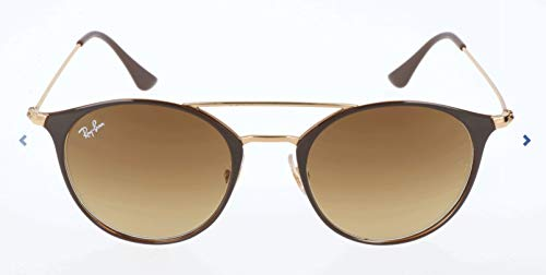 Ray-Ban RB3546 Round Metal Sunglasses, GOLD TOP BROWN, 52 ()