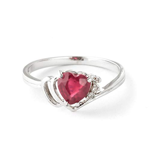 Galaxy Gold 14K Solid White Gold Angel's Heart - Heart Shaped 1.02 Carat Natural Ruby & Diamond Ring (5.5) ()