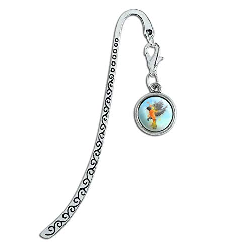 Baltimore Oriole Watercolor Northeastern Bird Metal Bookmark Page Marker with Charm (Silver Baltimore Orioles Bird)