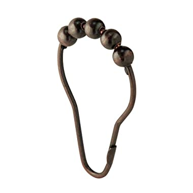 InterDesign Steel Roller Shower Curtain Rings/Hooks - Bronze, Set of 12