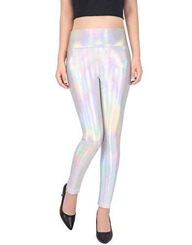 HDE Women's Shiny Holographic Leggings Liquid Metallic Pants Iridescent Tights (Holographic, Small)