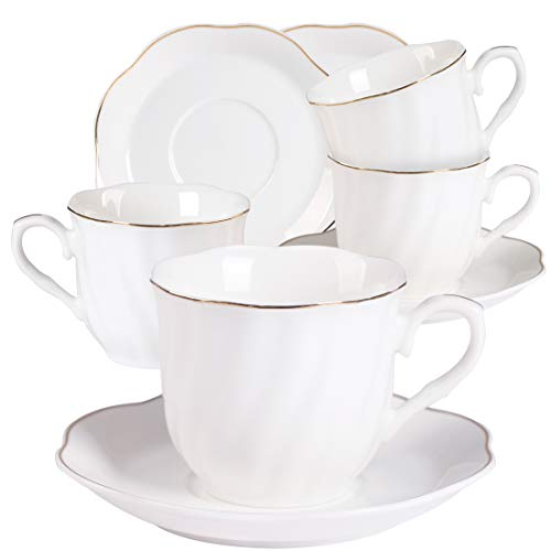 - New Bone China Coffee Cup and Saucer 7OZ Stripes Gold Edge Decoration White Porcelain Cappuccino Cups Set of 4 Durable Espresso Cup Tea Cups
