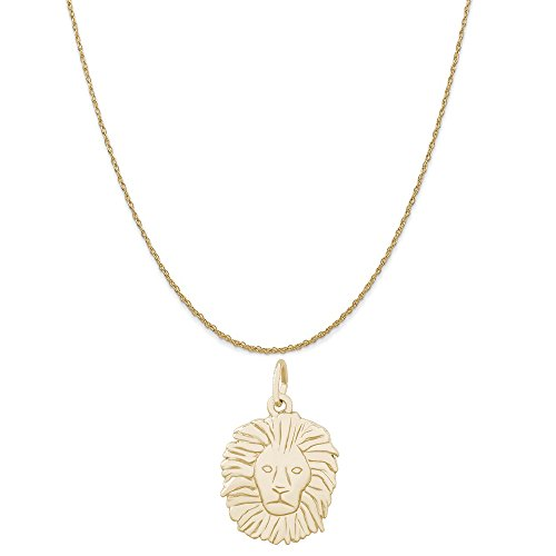 Rembrandt Charms 10K Yellow Gold Lion Head Charm on a 10K Yellow Gold Rope Chain Necklace, 16'' by Rembrandt Charms