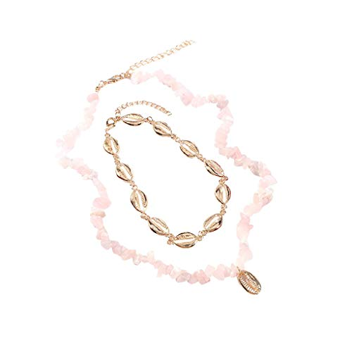 (Bohemian Women's Necklace Handmade Metal Shell Pendant Multilayer Geometric Jewelry (Pink))