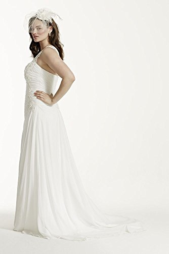 One shoulder chiffon plus size wedding dress style 9v3398 for Plus size one shoulder wedding dress
