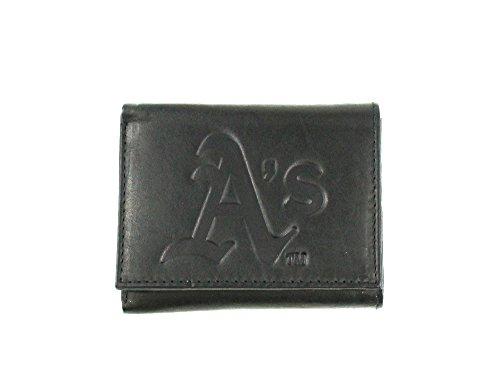 (MLB Oakland Athletics Tri-Fold Leather Wallet, Black)