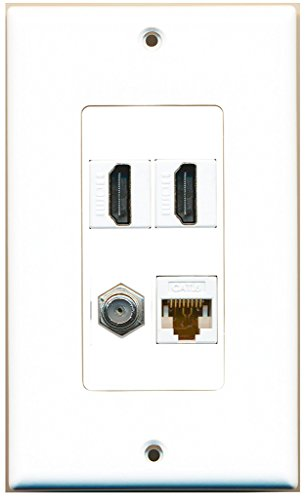 RiteAV - 2 Port HDMI 1 Port Coax Cable TV- F-Type 1 Port Cat6 Ethernet White Decorative Wall Plate