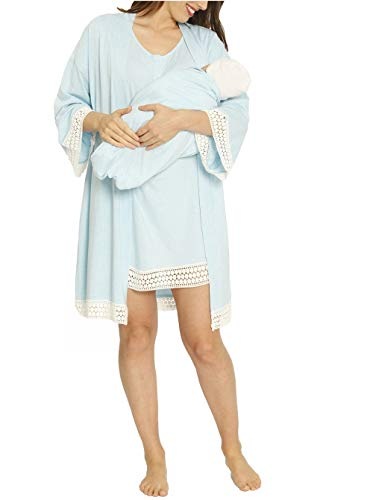 Angel Maternity 3 in 1 Birth Kit: Hospital Gown + Maternity Gown, Nursing Dress and Baby Blanket Labor Kit - Light Blue - XS/S