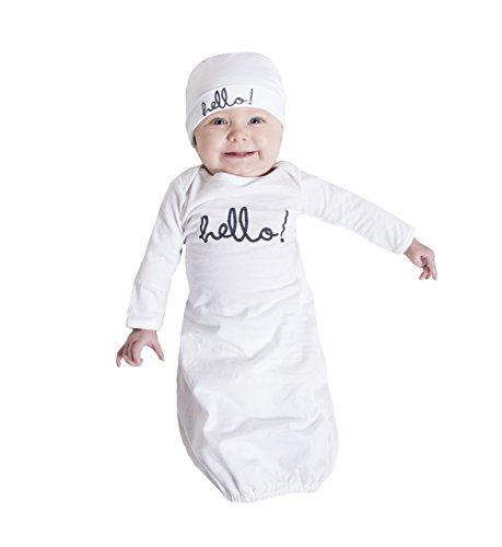 Baby Be Mine Newborn Gown and Hat Set (Newborn 0-3 Months, White Hello) ()
