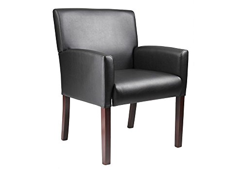 Vinyl Box Arm Reception Chair Black Caressoft Plus Vinyl/Mahogany Frame Dimensions: 25