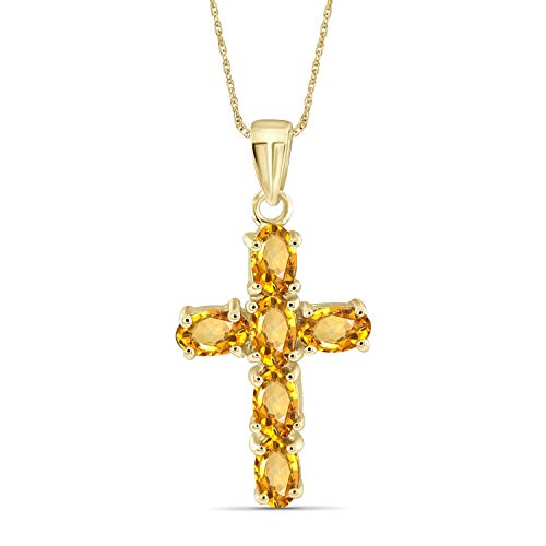 Jewelexcess 1.30 Carat T.G.W. Citrine 14k Gold Over Silver Cross Pendant
