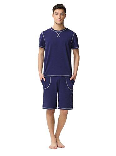 Suntasty Men's Summer Soft Round Neck Long Sleeve Cropped Pajama Sleepwear (Blue XL)
