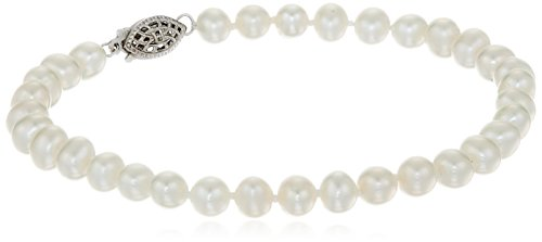 Sterling Silver White Freshwater Cultured A Quality Pearl Bracelet (5.5-6mm),8""